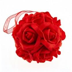 Boule Fleur Rouge diam.11cm