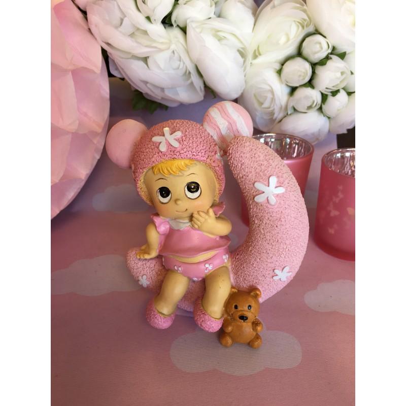 sujet bapt me fille bebe sur lune rose drag es chocolats. Black Bedroom Furniture Sets. Home Design Ideas