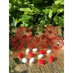 Boule à Dragées Métal Rouge (x6)