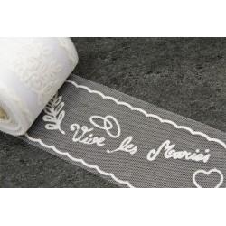 Rouleau Tulle Vive les mariés BLANC (x10m)