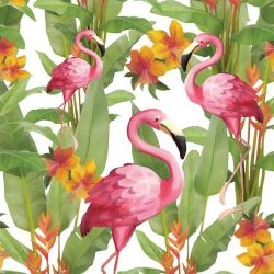 Serviettes de table Flamant Rose Tropical