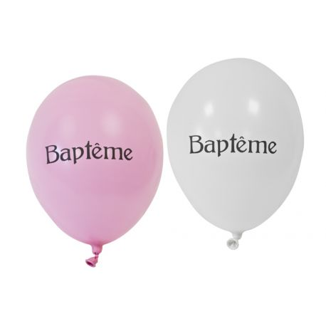 BALLONS BAPTEME ROSE x8