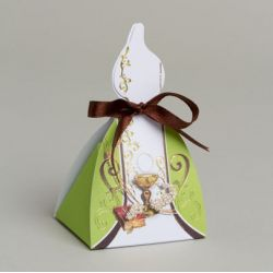 X1 Boîte Bougie Communion Vert/Chocolat
