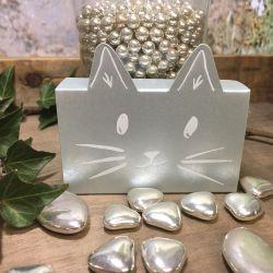 Boite Dragées Chat Gris argenté (x1)