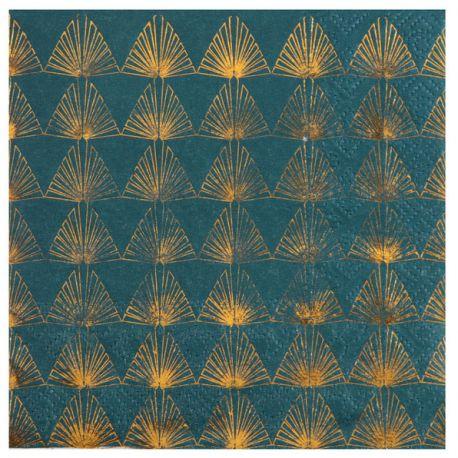 Serviettes De Table Bleu Canard Metallise X20 Dragees Chocolats