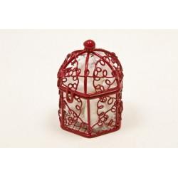 Mini Cage à Oiseaux Métal Rouge Bordeaux (x1)