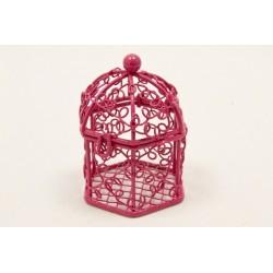 Mini Cage à Oiseaux Métal Fuchsia (x1)