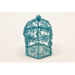 Mini Cage à Oiseaux Métal Turquoise (x1)
