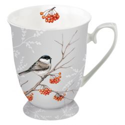 Mug 0.25L Bird on Branch Grey