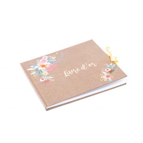 Livre d'Or FOLK - Fleurs aquarelle