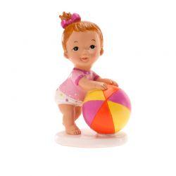 SUJET à poser Bébé Fille avec ballon x1