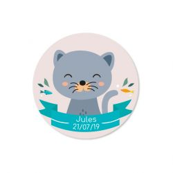 Sticker personnalisé Chat Gris x35