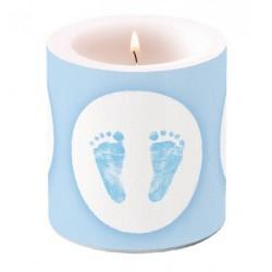Bougie de Table Baptême Pieds Bébé Bleu