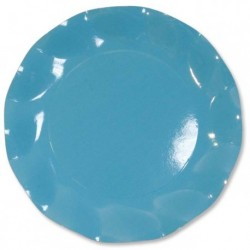 Assiettes Carton Bleu Turquoise 27cm (x10)