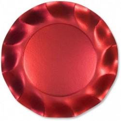Assiettes Carton Rouge Satiné 21cm (x10)