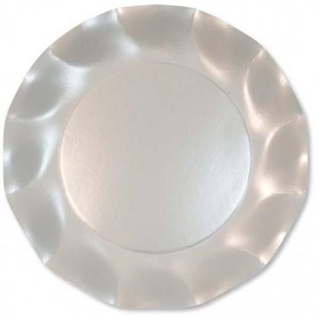 Assiettes Carton Blanc Perlé 21cm (x10)