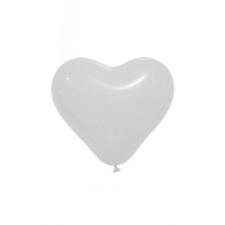 Ballon Coeur Blanc Opaque (x12)