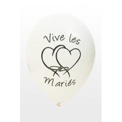Ballon Vive Les Mariés Blanc ⌀ 28cm (x8)