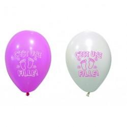 Ballon C'est Une Fille Rose Blanc ⌀ 28cm (x8)