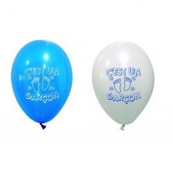 Ballon C'est Un Garçon Bleu Blanc ⌀ 28cm (x8)