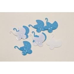 Confettis de Table Baptême Landau Bleu et Blanc