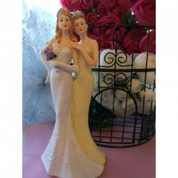 Sujet Gâteau Mariage Couple Femmes Robe Longue