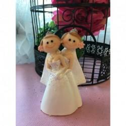 Sujet Gâteau Mariage Couple Femmes Robe Blanche