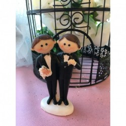 Sujet Gâteau Mariage Couple Hommes Costume Noir