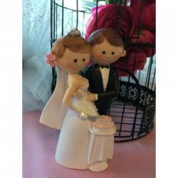 Sujet Gâteau Mariage Couple Moderne Mariés avec Gâteau