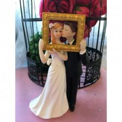 Sujet Gâteau Mariage Couple Mariés Photobooth