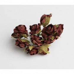 Roses sur Tige Marron Chocolat (x12)