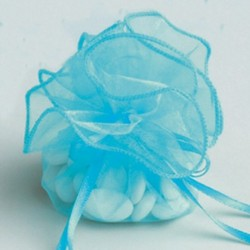 Tulle Forme Bourse ORGANDI Turquoise (x6)